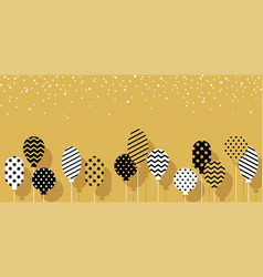 balloons in black white golden colors vector image