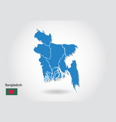 bangladesh map design with 3d style blue vector image