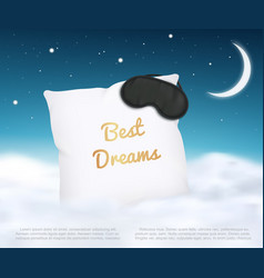 Banner design with white pillow and sleep mask and vector
