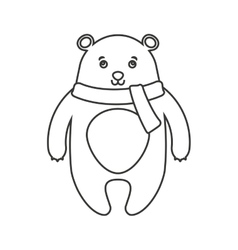 Bear winter clothes character vector