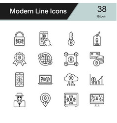 bitcoin icons modern line design set 38 vector image