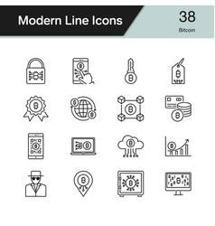 Bitcoin icons modern line design set 38 vector