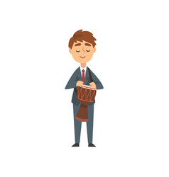 Boy drum player talented young musician character vector