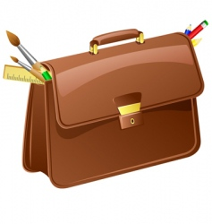 Briefcase with pencils and brushes vector
