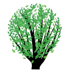 Bush with green leaves vector image