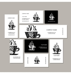Business cards collection coffee cup design vector