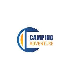 c letter icon for camping adventure vector image
