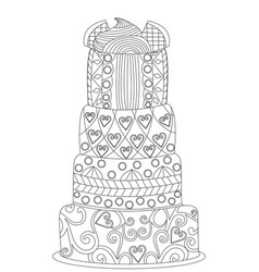 Cake coloring for adults vector