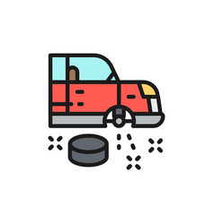 car wheel replacement flat color line icon vector image