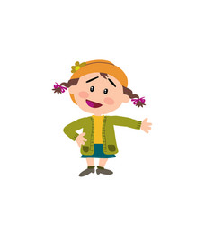 cartoon character girl showing vector image