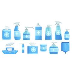 Cartoon disinfectants disinfection alcohol spray vector