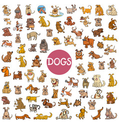 Cartoon dog characters big set vector