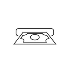 Cash withdrawal outline icon on white background vector