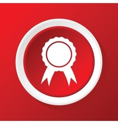Certificate seal icon on red vector