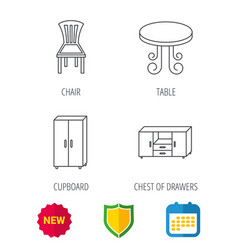 chair table and cupboard icons vector image