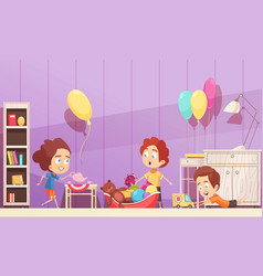 Children room cartoon vector
