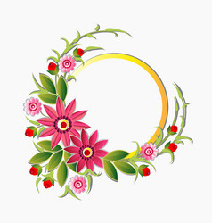 Circle frame decorated with flowers floral vector