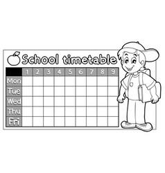 Coloring book school timetable 9 vector
