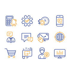 Computer mouse comment and market sale icons set vector