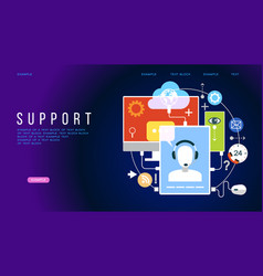 concept for support customer service landing page vector image