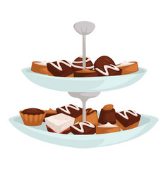 Cookies and candies on two layer dish dessert or vector