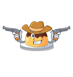 Cowboy delicious chocolate pudding with on cartoon vector