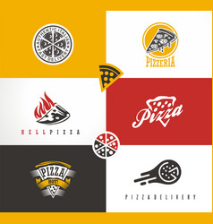 creative artistic set with various pizza symbols vector image