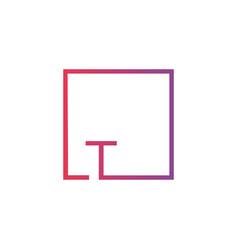 Creative initial letter lt square logo design vector