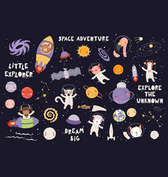 Cute animal astronauts set vector