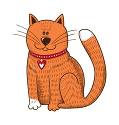 Cute character Cat with heart on collar vector image