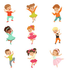 Cute little kids dancing set modern and classical vector