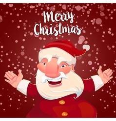 Cute Santa on red snow backdrop vector