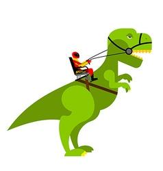 Dinosaur rider Man sits on back of huge wild vector image