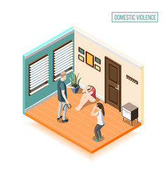 Domestic violence isometric composition vector