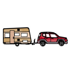 Drawn suv car camper trailer travel transport vector