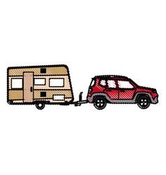 drawn suv car camper trailer travel transport vector image