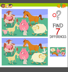 Find differences game with farm animals vector