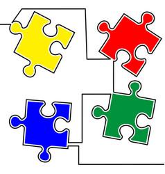 flat continuous line art puzzle jigsaw concept vector image