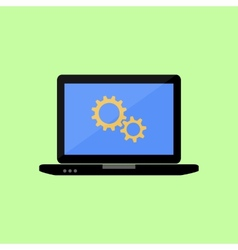 Flat style laptop with gear wheels vector image vector image