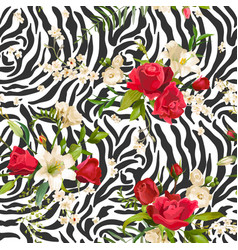 Flowers and zebra skin seamless pattern animal vector