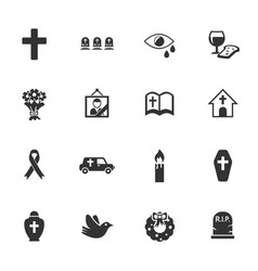 Funeral services icon set vector