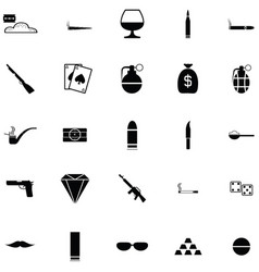 gangster icon set vector image