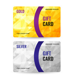 gift card bright design with gold and silver vector image