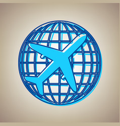 globe and plane travel sign sky blue icon vector image