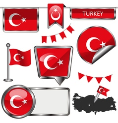 Glossy icons with turkish flag vector