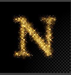 Gold glittering letter n on black background vector
