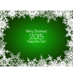 Green and white shiny snowflakes Christmas vector