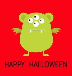 happy halloween cute green monster icon cartoon vector image