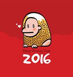 Happy Monkey Year 2016 Card vector image