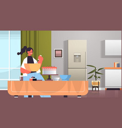 happy woman preparing sweet cake at home cooking vector image